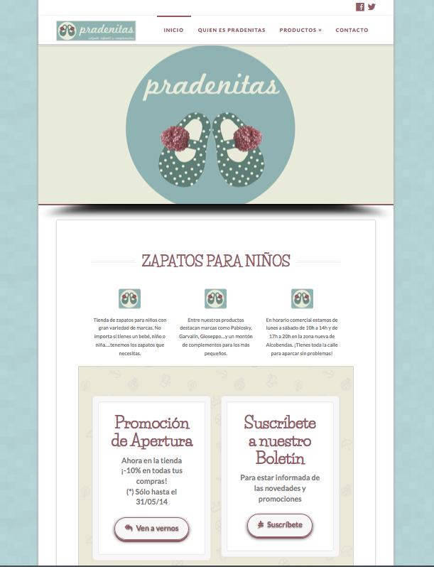 Sitio web de Pradenitas calzado infantil