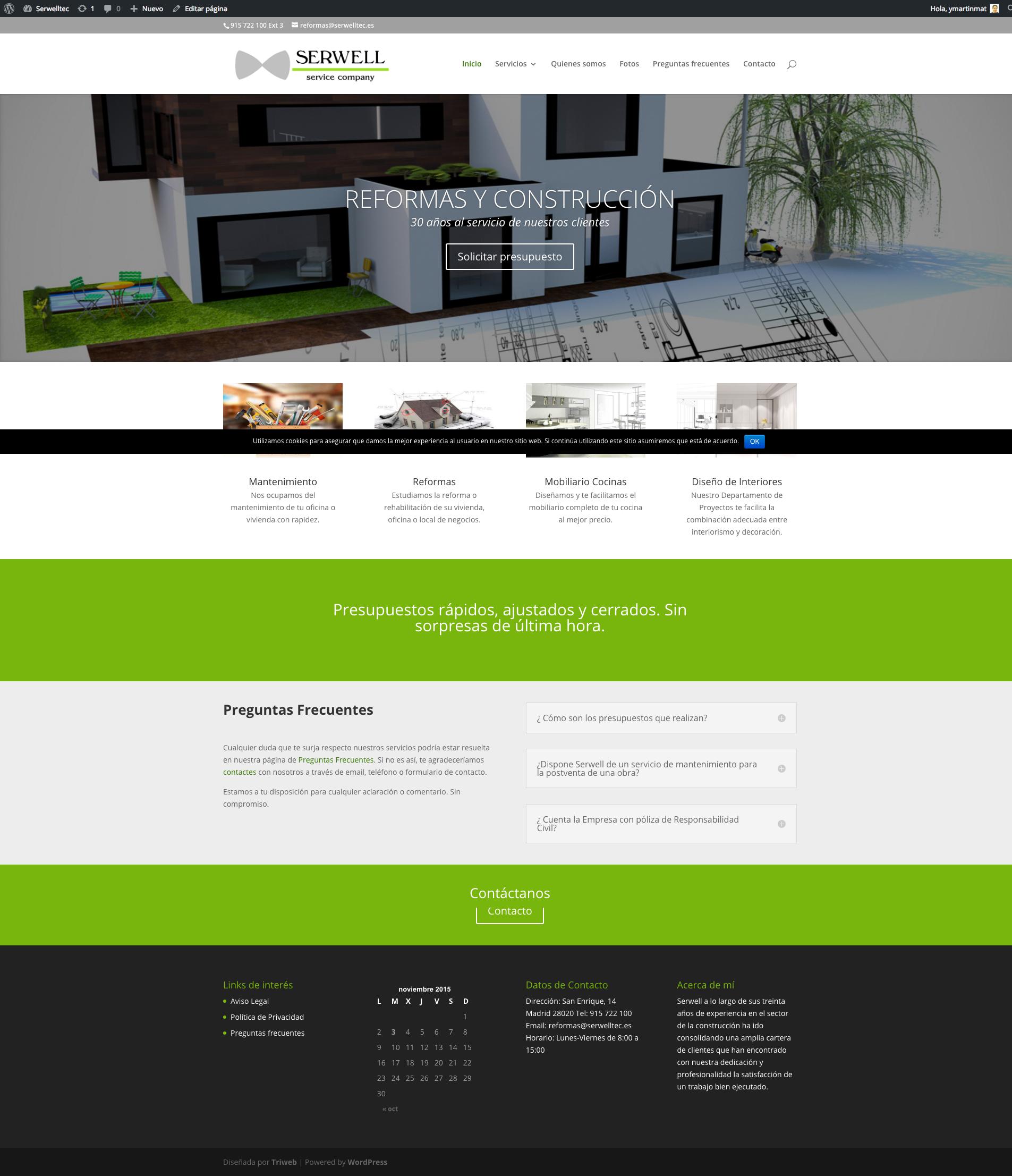 Diseño web de empresa de obras y construcción