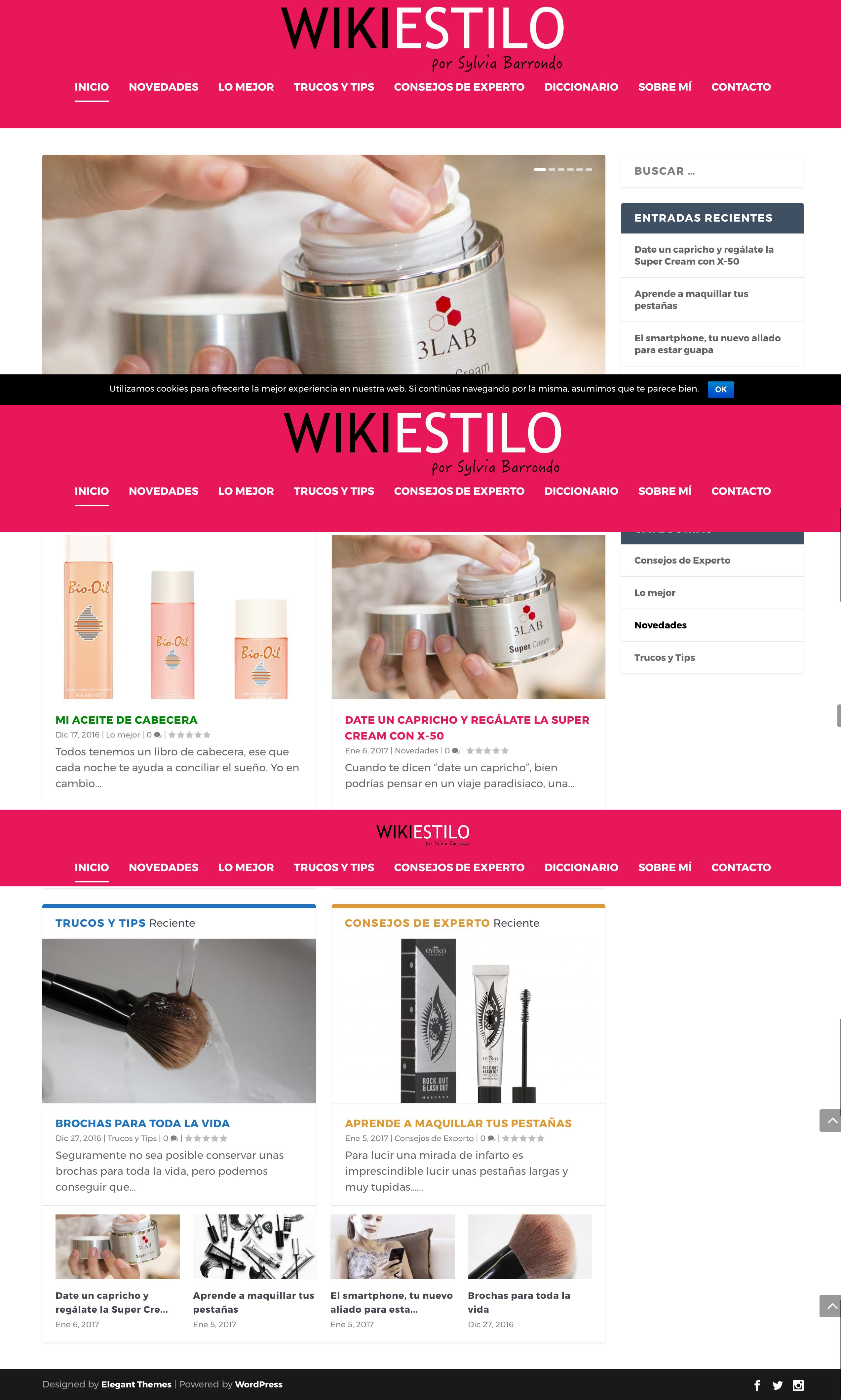 Diseño web de blog de moda y belleza